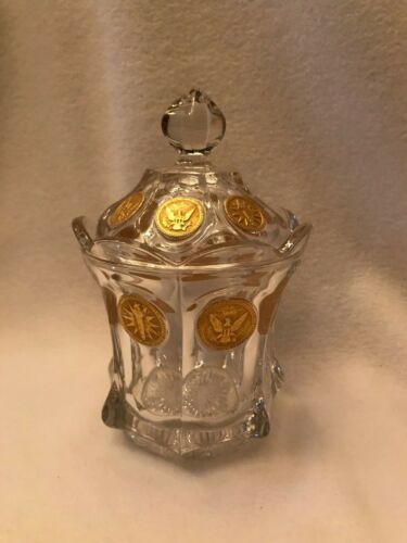 Fostoria Gold Coin Glass Candy Dish With Lid (Stem 1372)