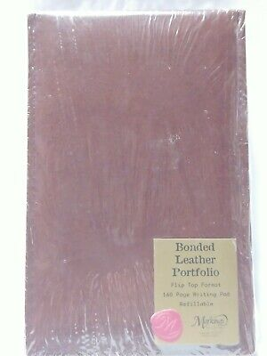 Brown Bonded Leather Portfolio Flip Top 160 Pg Writing Pad C.r. Gibson Markings
