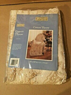 Cotton Throw Beige Lap Blanket 46