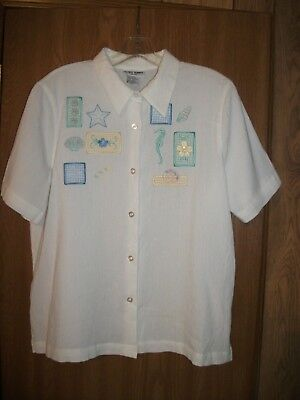 ALFRED DUNNER Womens 14P SS White Crinkle Cotton Blouse w Blue Seashells & Beads