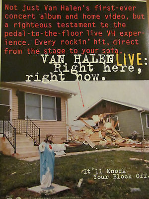 Van Halen, Right Here Right Now, Full Page Vintage Promotional Ad