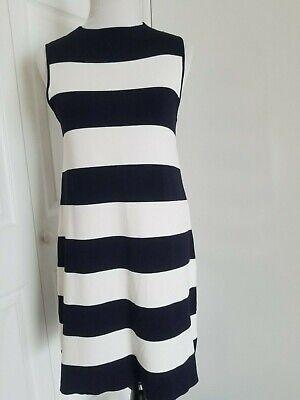 Eliza J Stripe Shift Sweater Dress Navy Ivory  Size 10 - Eliza Stripe