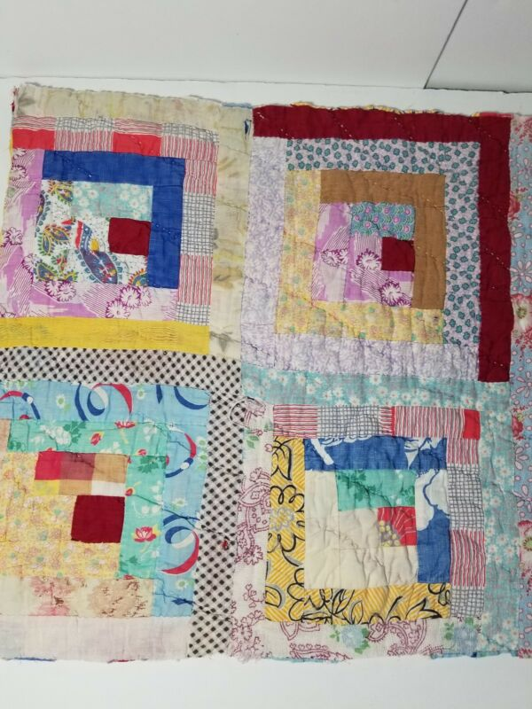 Vintage Feedsack Log Cabin Quilt Cutter Hand Stitched Tattered Torn 21 x 16  LC5