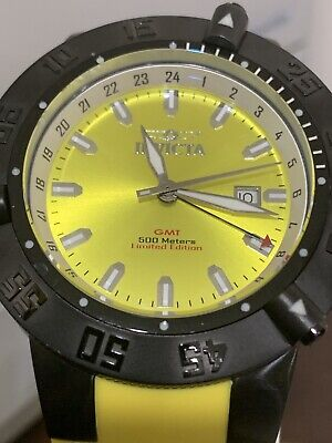 Invicta F0025 Mens Subaqua Collection Noma III GMT Yellow Rubber Strap Watch