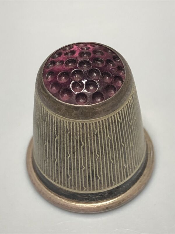 Sterling Silver Thimble w/ amethyst Glass Top made in Germany