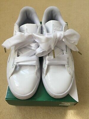 PUMA BASKET HEART WHITE PATENT TRAINERS UK 6 (39) EXCELLENT CONDITION