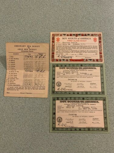 Lot of 4 1943 Boy Scout Sea Scout Cards Advancement Record First Class Scout