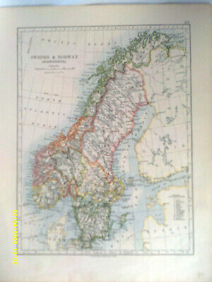 Double-sided Antique Map. SWEDEN & NORWAY  /  DENMARK.  1895.  VG