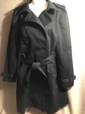Anne Klein Black Trench Coat With Belt Size Large
