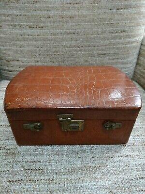 Vintage Tan Leather Jewellery Makeup Case Box