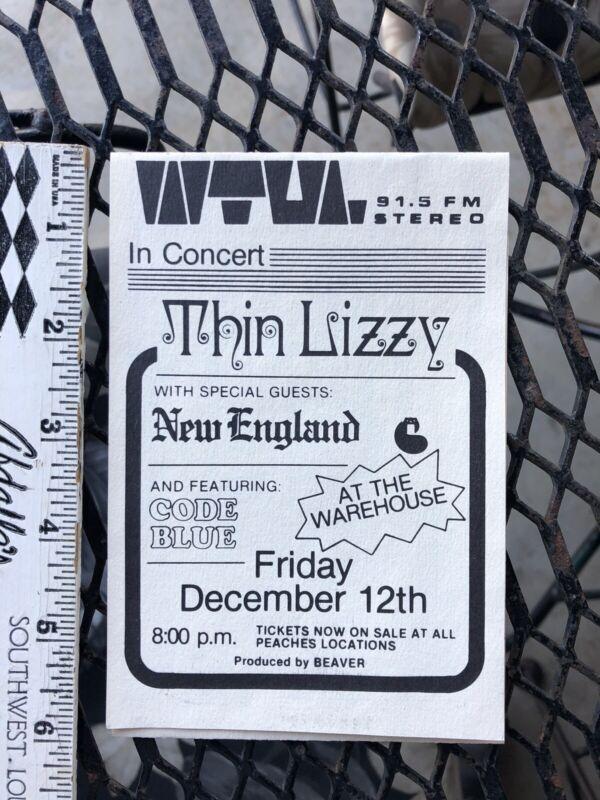 Rare 1980 THIN LIZZY Concert Handbill THE WAREHOUSE New Orleans WTUL Advertising