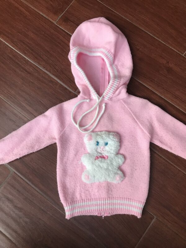 Vintage Tiny Tots Pink Hooded Sweater Toddlers sz 24 Mo 2 T Teddy Bear Kawaii