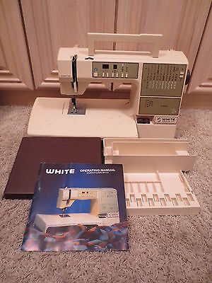 WHITE 8410 EUROFLAIR SEWING MACHINE w/manual, feet, extension table, control etc for sale  Shipping to Nigeria