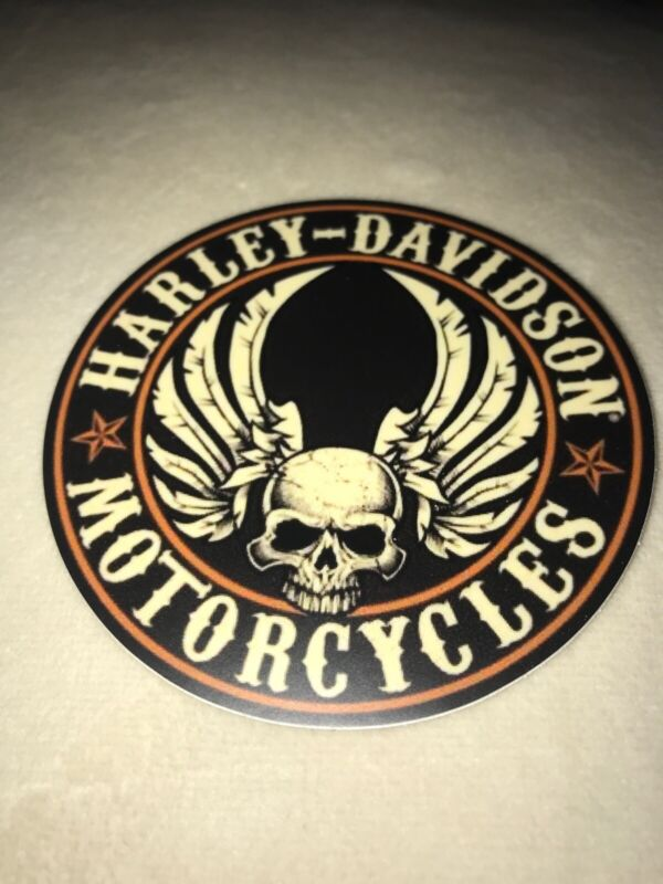 "HARLEY DAVIDSON MOTORCYCLES Vintage Decal Sticker 3"" Round  BLACK SKULL w/ WINGS"