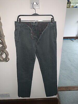 Incotex Mens Designer Grey/green Cotton Chino Trousers Pants