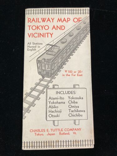 """VINTAGE 1961 RAILWAY MAP OF TOKYO AND VICINITY, CHARLES E. TUTTLE CO. 17"""" X 24"""""""