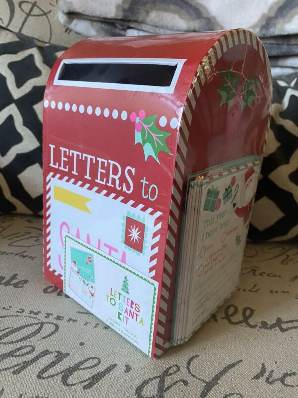 Letters To Santa Claus Mailbox Kit 13 Piece Set Post Office Collection Blue Box