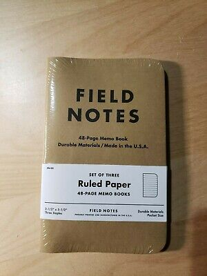 Field Notes Original Kraft 3-pack - Ruled Paper - 48 Pages - 3.5 X 5.5 New