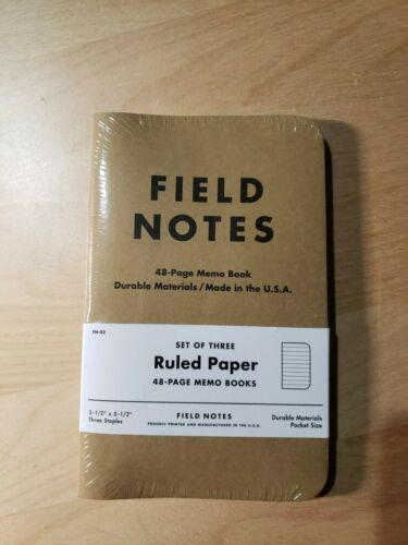 """Field Notes: Original Kraft 3-Pack - Ruled Paper - 48 Pages - 3.5"""" x 5.5"""" New"""