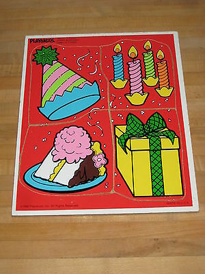 Vintage Playskool Happy Birthday 180-11 Wooden Tray Puzzle Complete 1986