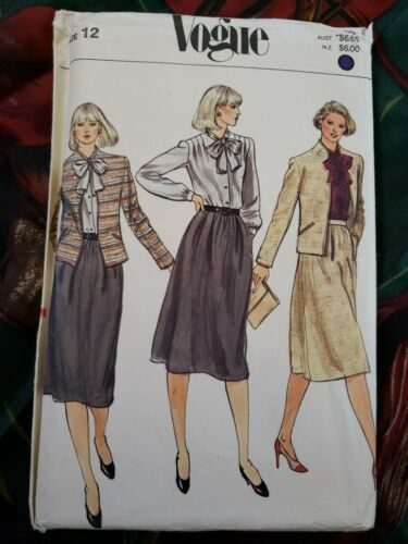 Vintage Sewing Pattern Vogue 7830 Misses Sz 12 Business Suit Jacket Skirt Top - $12.00