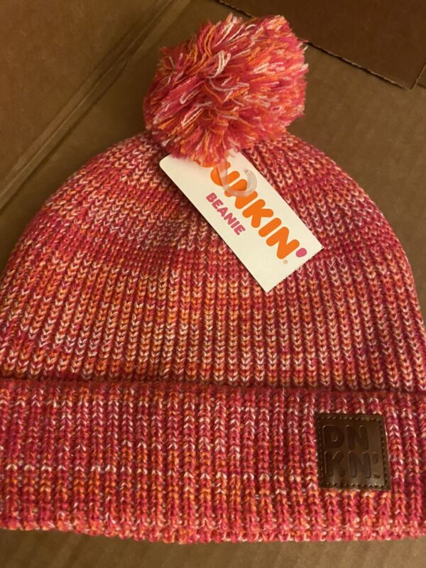 Limited Edition Dunkin Donuts Winter Beanie Sock Hat Pink Threaded