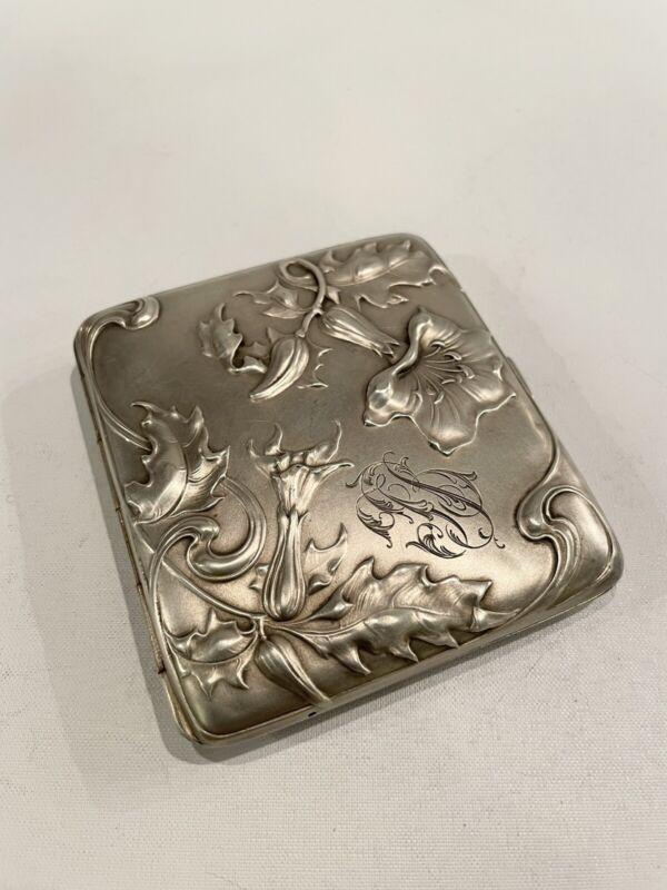 Antique 800 Coin Silver Art Nouveau Cigarette Case Monogrammed