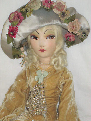 """32"""" French Silk Boudoir doll Antique from FRANCE With Matching Floral Hat!"""