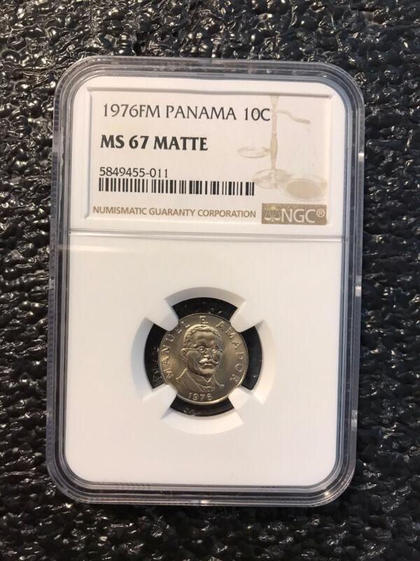 1976 Panama 10 Centesimos Coin NGC MS 67 Matte Manuel E Amador