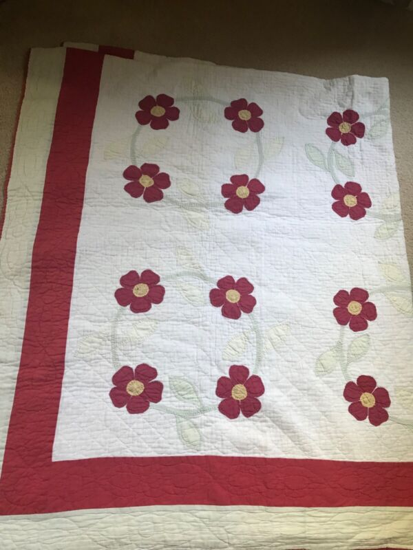 Antique Wreath of Carnations Quilt with Appraisal