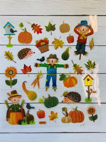 Glitter Harvest Fall Fun Stickers Planner Papercraft Hedgehog Scarecrow  Craft