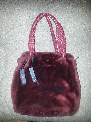 Large FALOR-FALORNI Shearling Tote-Burgundy-Genuine Leather w/Lamb Fur-STUNNING!