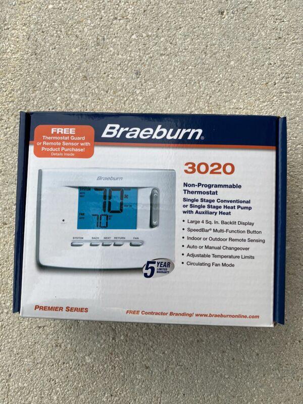 Braeburn Thermostat Non Programmable Model 3020-1 Heat 1 Cool Brand New