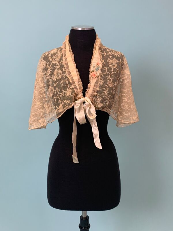 Antique Edwardian Silk Floral Embroidered Lace Shawl Ribbon Rose Bouquet AS IS
