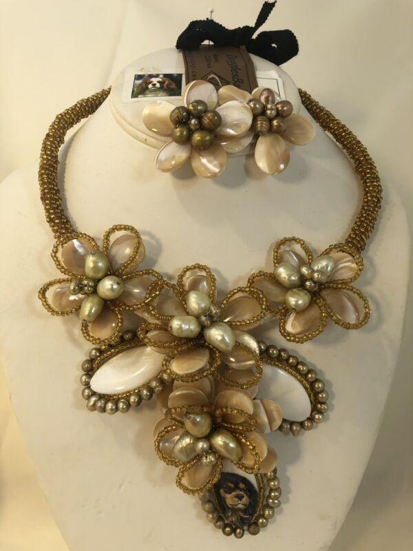Blenheim Cavalier Handpainted Gold+Pearl Floral Handmade Necklace+Earring Set