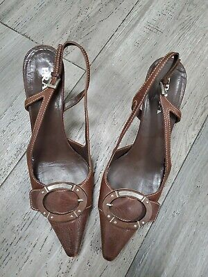 Prada Womens 8 38 Leather Textile Buckle Stiletto Slingback Italy Made Shoes
