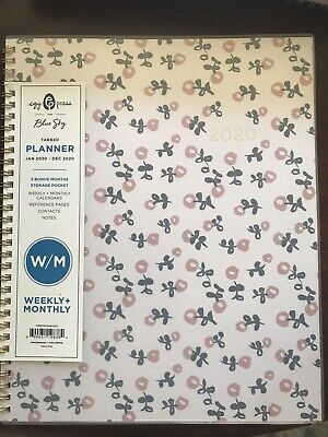2020 Planner Blue Sky 8.5x11 Pink Flowers Weekly Monthly