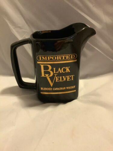 Vintage Imported Black Velvet Ceramic Pitcher