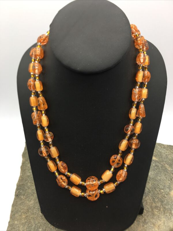 VINTAGE 50'S Multi 2 STRAND Beautiful Glass BEADED NECKLACE  #FN831