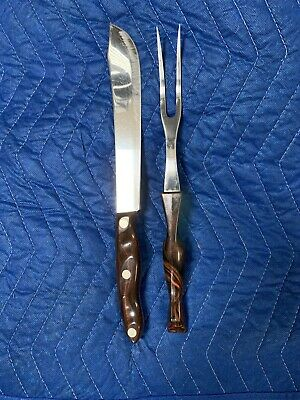 CUTCO Butcher Knife 1022 Carving Fork 1727 Brown & Orange Marble Swirl Vintage