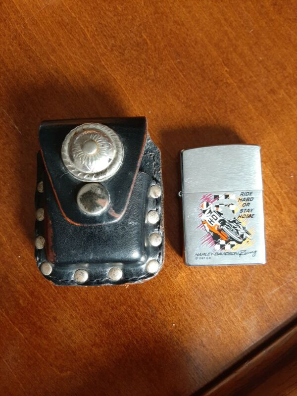ZIPPO HARLEY DAVIDSON RACING LIGHTER W LEATHER STUDDED BELT POUCH USA HD used