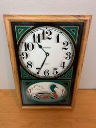 Vintage Verichron Green Gold Quartz Duck Wall Clock Wood Hunting B4