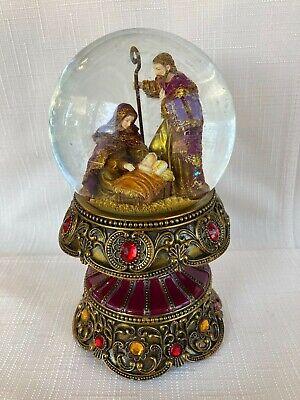 Christmas Nativity Glitter Snow Globe Music Box Silent Night Crown Base