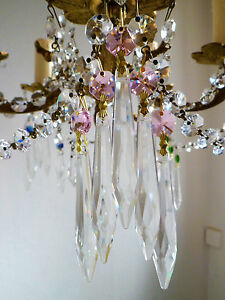 Pretty PINK Crystal &Cut Glass Crystal Icicle Chandelier drops x 5 spares crafts