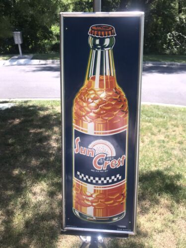 "VINTAGE 1950s ORIGINAL SUN CREST SODA BOTTLE SIGN 21 3/4"" TALL  7 3/4"" WIDE"