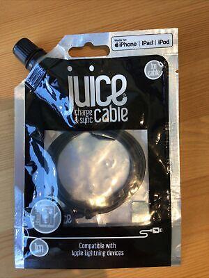 Juice Lightning 1m Charger Sync Cable Lead USB Black Apple IPhone IPad...