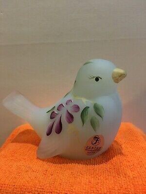 Fenton Glass Bird Hand Painted Purple Flower - Hand Painted Bird Design