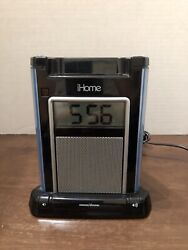 iHome iH4B Alarm Clock Speaker System with iPod Dock #H12M Pre Owned Works Good.