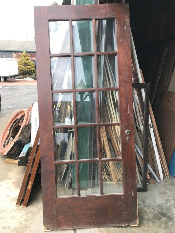 An 492 Antique Beveled Glass Birch entrance door 36 x 84 X1.75