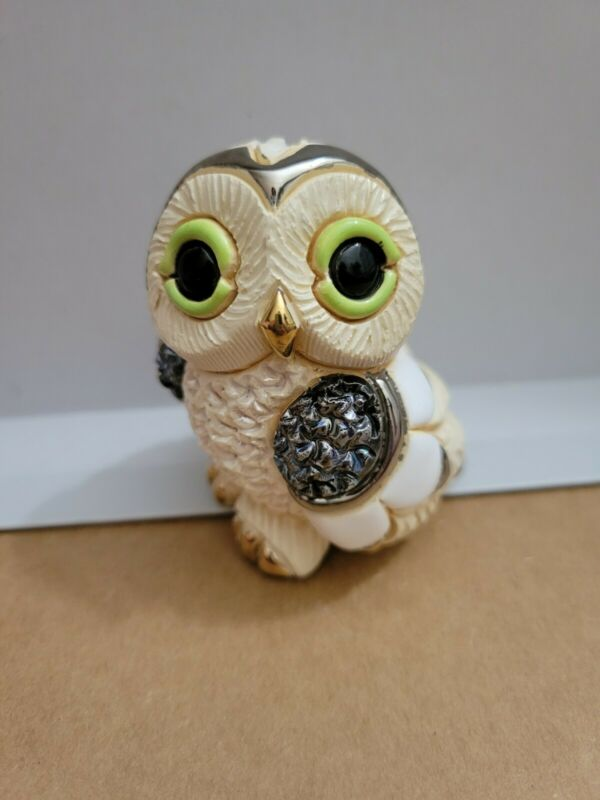 DeRosa Rinconada Owl Figurine Uruguay Hand Made Twice Fired Gold Platinum Accent